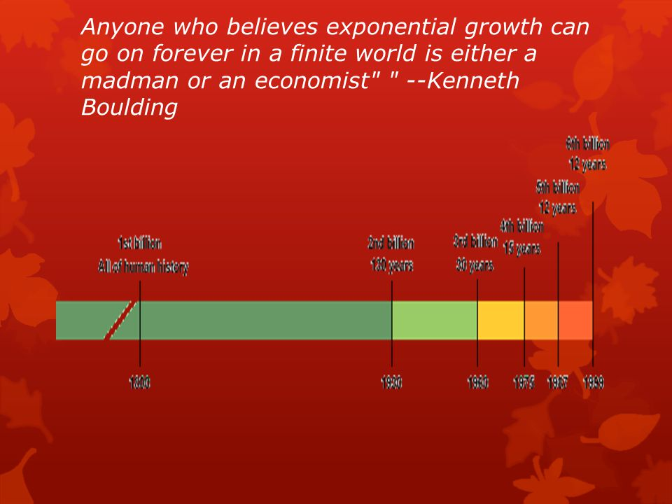 Anyone who believes exponential growth can go on forever in a finite world is either a madman or an economist