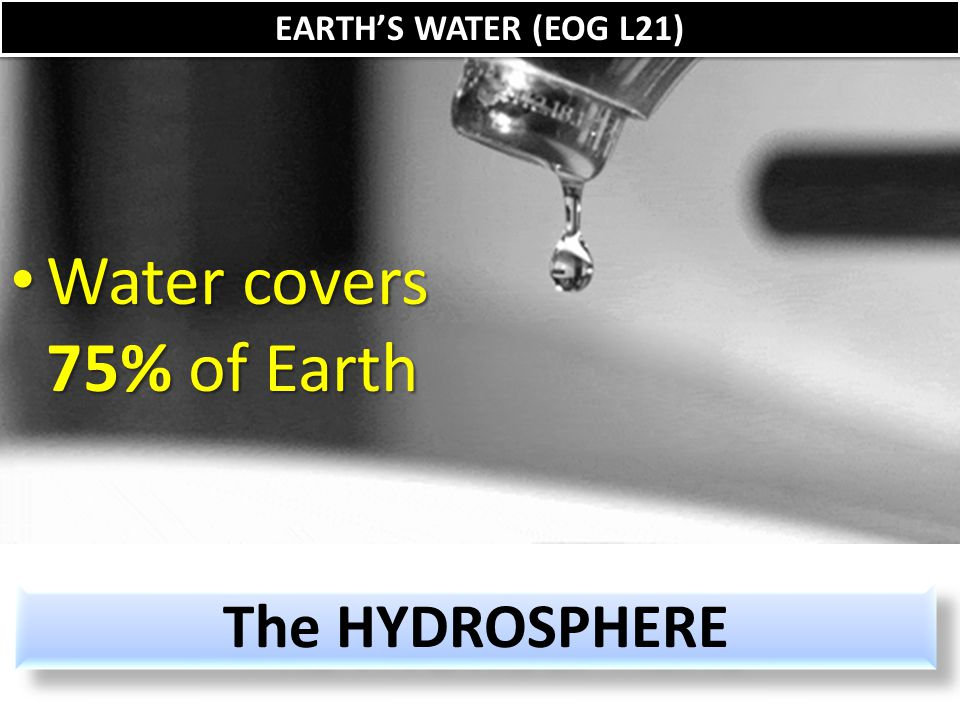 The HYDROSPHERE Water covers 75% of Earth Water covers 75% of Earth EARTH'S WATER (EOG L21)