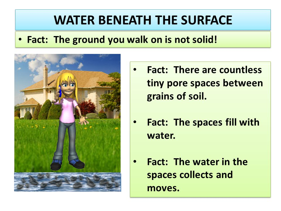 WATER BENEATH THE SURFACE Fact: The ground you walk on is not solid! Fact: There are countless tiny pore spaces between grains of soil. Fact: The spac