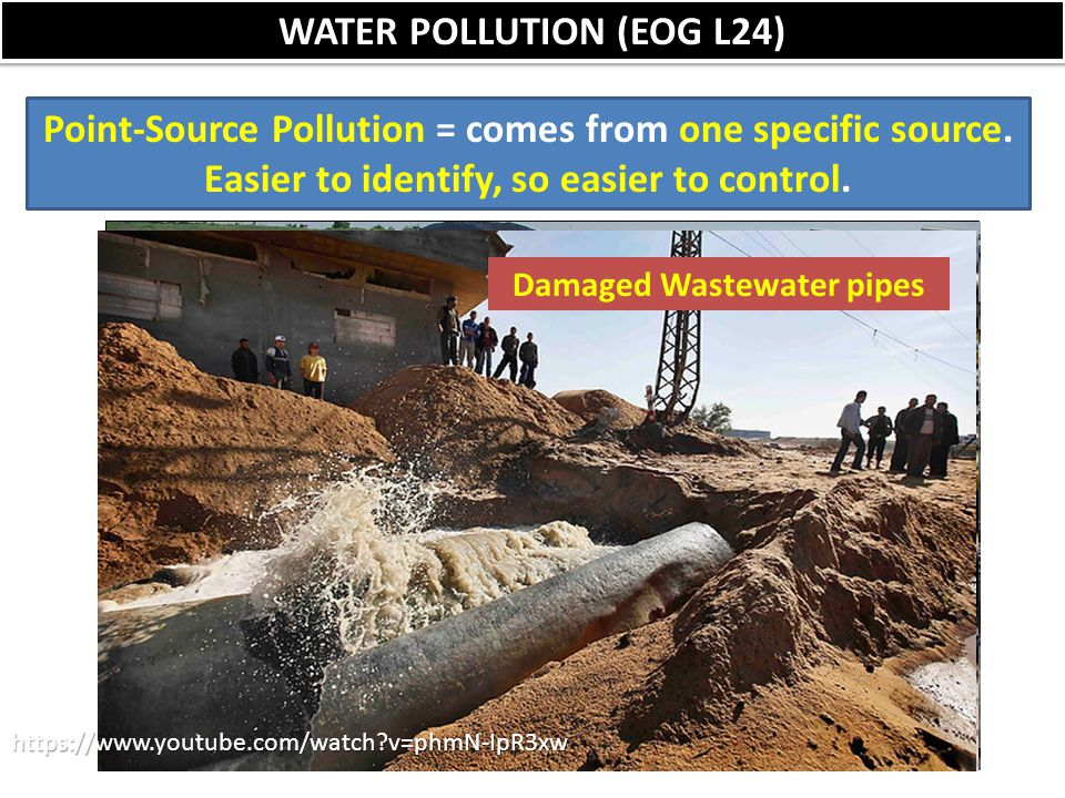 WATER POLLUTION (EOG L24) Point-Source Pollution = comes from one specific source. Easier to identify, so easier to control. Factories Dishwater from