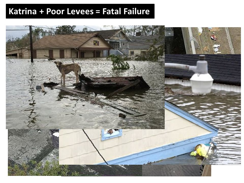 Some of the following photos are graphic. Katrina + Poor Levees = Fatal Failure