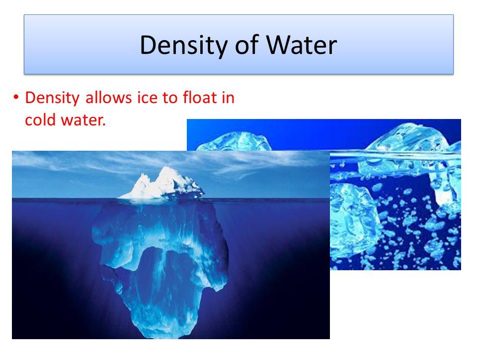 Water Expands when Frozen Ice is an open framework of water molecules arranged like a honeycomb.