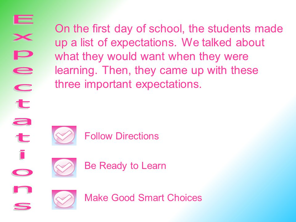 On the first day of school, the students made up a list of expectations. We talked about what they would want when they were learning. Then, they came