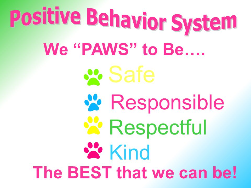 We PAWS to Be…. Safe Kind Respectful Responsible The BEST that we can be!
