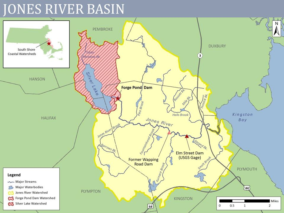 PROJECT GOALS Document existing flow conditions and water supply management Conduct new analyses to forecast the feasibility of providing fish passage at Forge Pond Dam under different scenarios of flow management and structural modifications