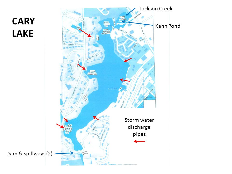 Dam & spillways (2) Jackson Creek Kahn Pond Storm water discharge pipes CARY LAKE