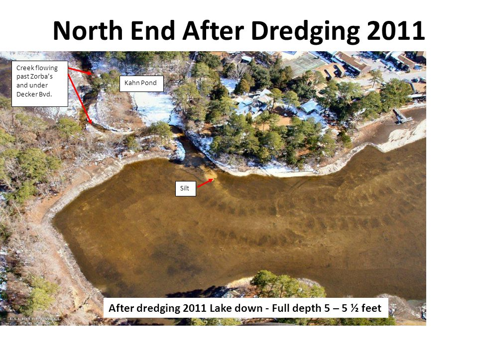 North End After Dredging 2011 Creek flowing past Zorba's and under Decker Bvd.