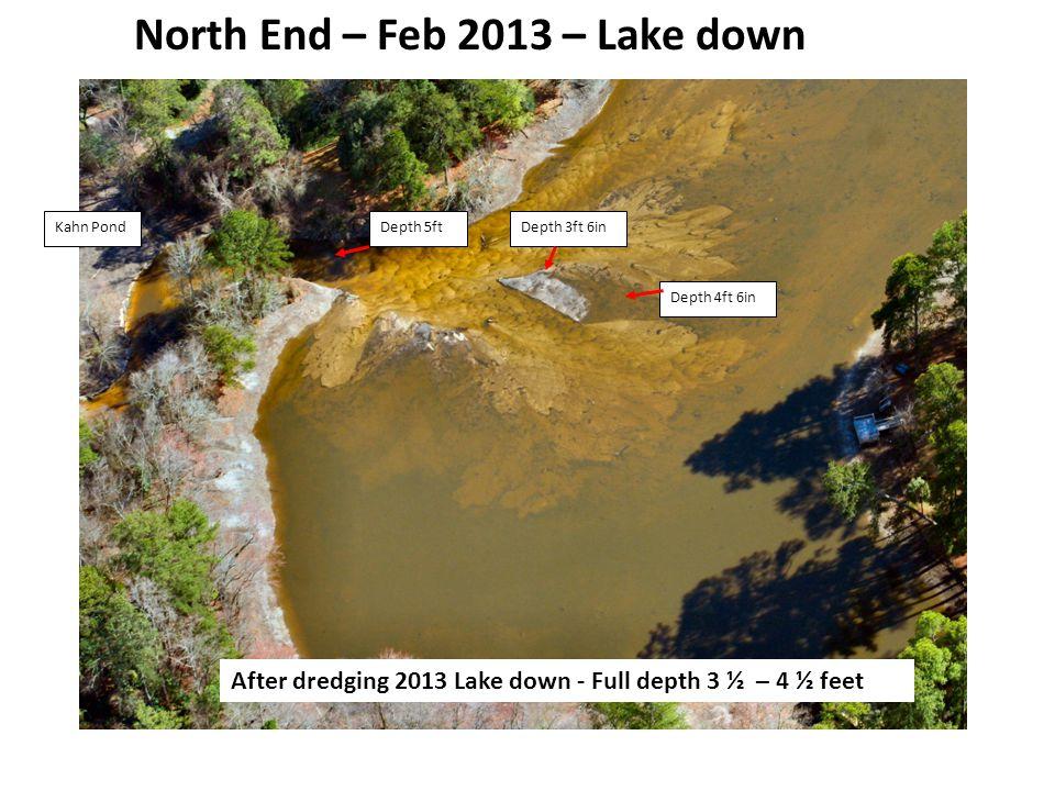 Depth 5ftDepth 3ft 6in Depth 4ft 6in Kahn Pond North End – Feb 2013 – Lake down After dredging 2013 Lake down - Full depth 3 ½ – 4 ½ feet