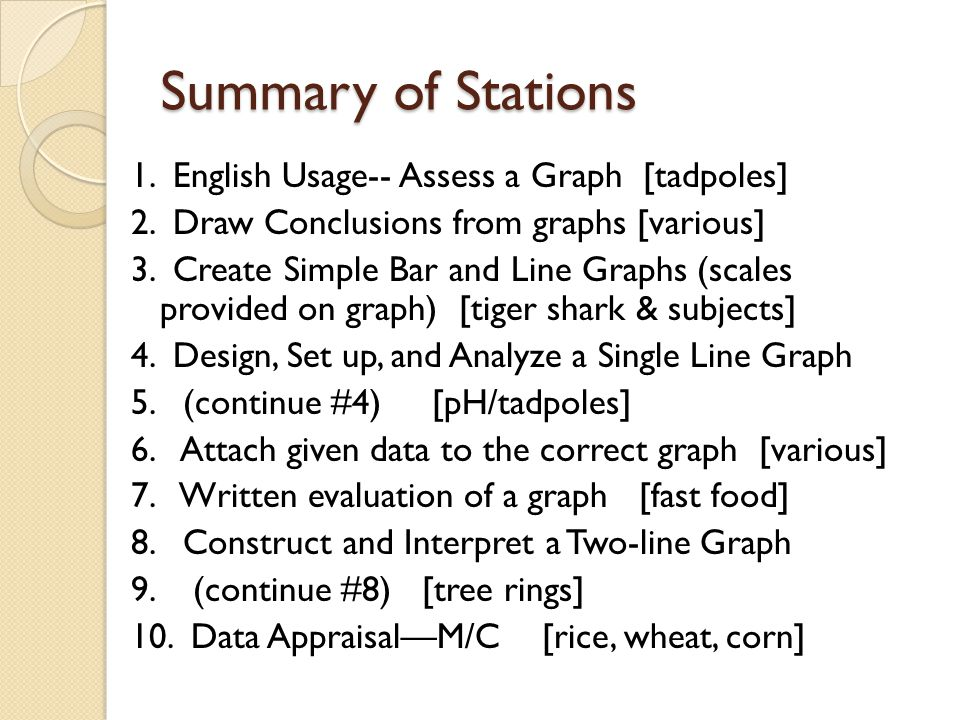 Station 1 English Usage-- Assess a Graph Number of Tadpoles in Pond Adapted from www.biologycorner.com
