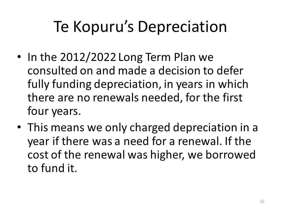 Te Kopuru's Depreciation In the 2012/2022 Long Term Plan we consulted on and made a decision to defer fully funding depreciation, in years in which there are no renewals needed, for the first four years.