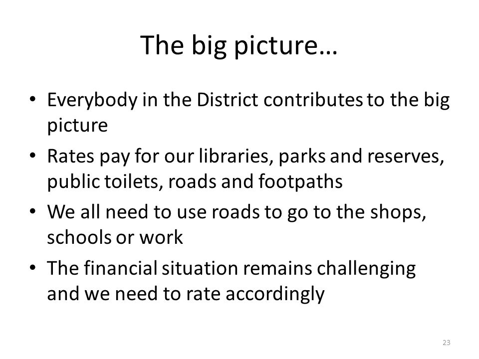The big picture… Everybody in the District contributes to the big picture Rates pay for our libraries, parks and reserves, public toilets, roads and footpaths We all need to use roads to go to the shops, schools or work The financial situation remains challenging and we need to rate accordingly 23