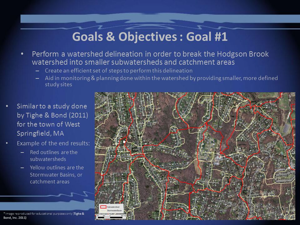 Goals & Objectives : Goal #1 Perform a watershed delineation in order to break the Hodgson Brook watershed into smaller subwatersheds and catchment areas – Create an efficient set of steps to perform this delineation – Aid in monitoring & planning done within the watershed by providing smaller, more defined study sites Similar to a study done by Tighe & Bond (2011) for the town of West Springfield, MA Example of the end results: – Red outlines are the subwatersheds – Yellow outlines are the Stormwater Basins, or catchment areas *Image reproduced for educational purposes only (Tighe & Bond, Inc.