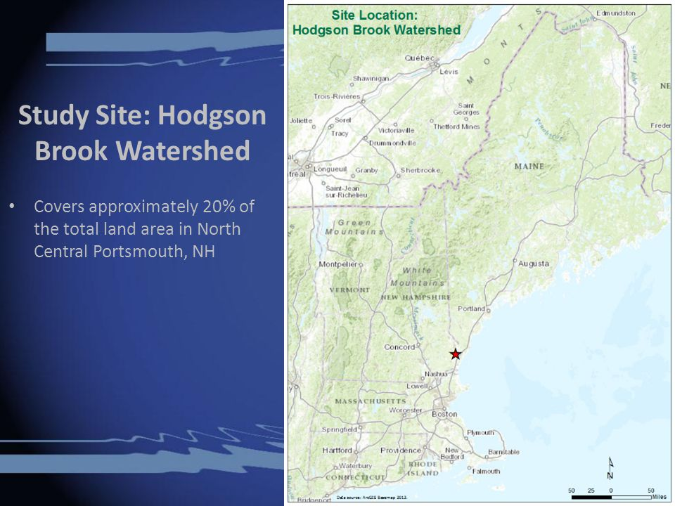 Study Site: Hodgson Brook Watershed Covers approximately 20% of the total land area in North Central Portsmouth, NH