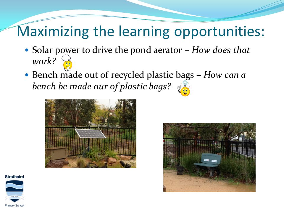 Maximizing the learning opportunities: Solar power to drive the pond aerator – How does that work.