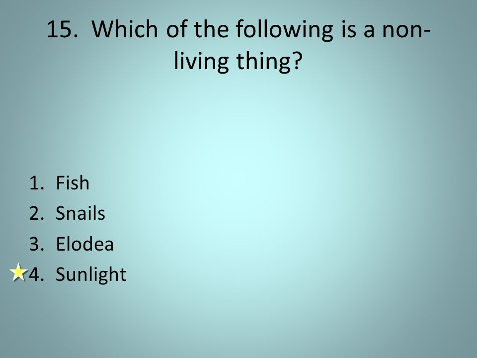 15. Which of the following is a non- living thing? 1.Fish 2.Snails 3.Elodea 4.Sunlight