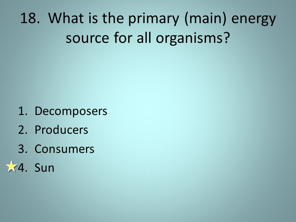 18.What is the primary (main) energy source for all organisms.