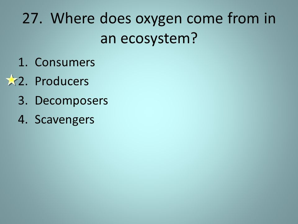 27. Where does oxygen come from in an ecosystem? 1.Consumers 2.Producers 3.Decomposers 4.Scavengers