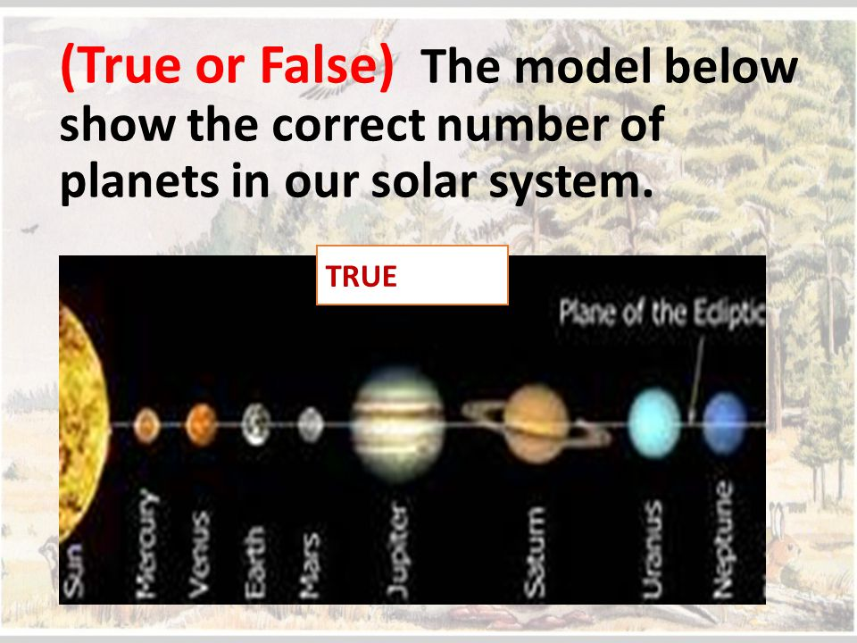 (True or False) The model below show the correct number of planets in our solar system. TRUE
