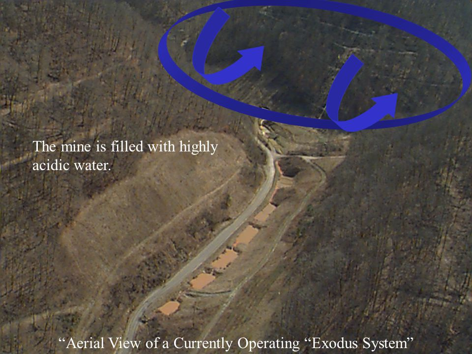Aerial View of a Currently Operating Exodus System The mine is filled with highly acidic water.