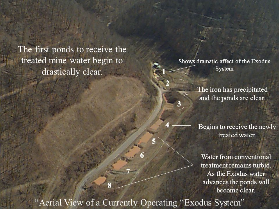 Aerial View of a Currently Operating Exodus System The first ponds to receive the treated mine water begin to drastically clear.