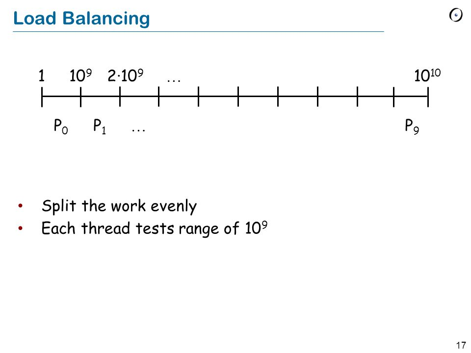 17 Load Balancing Split the work evenly Each thread tests range of 10 9 … … 10 910 2·10 9 1 P0P0 P1P1 P9P9