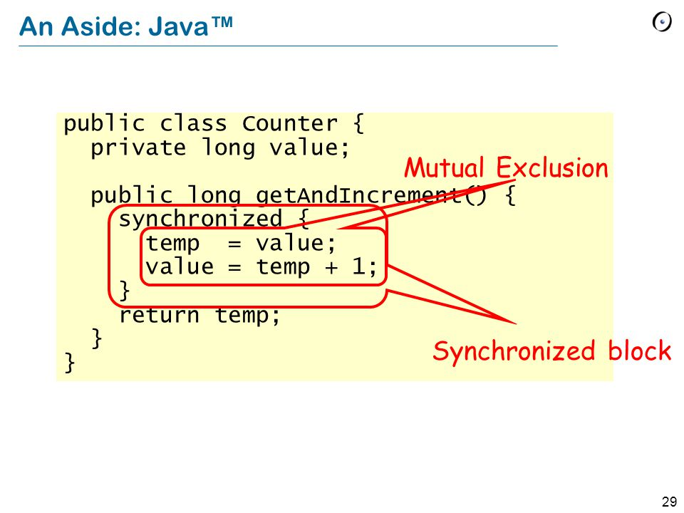 29 An Aside: Java™ public class Counter { private long value; public long getAndIncrement() { synchronized { temp = value; value = temp + 1; } return temp; } Synchronized block Mutual Exclusion