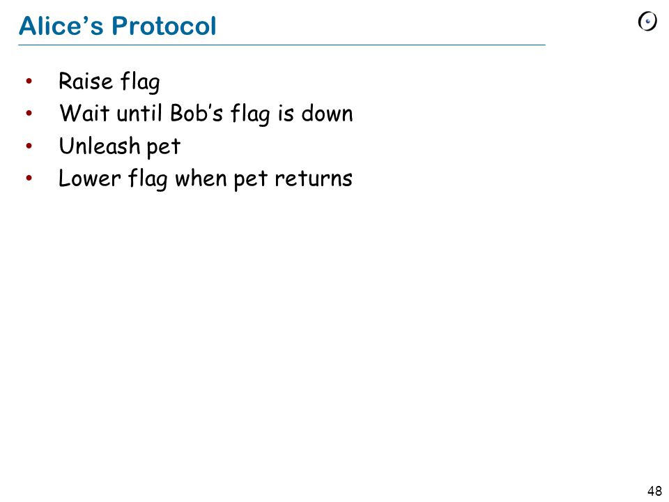 48 Alice's Protocol Raise flag Wait until Bob's flag is down Unleash pet Lower flag when pet returns