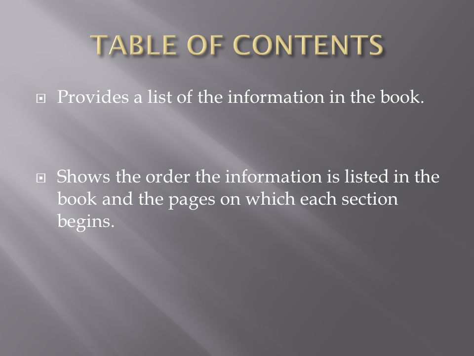  Provides a list of the information in the book.