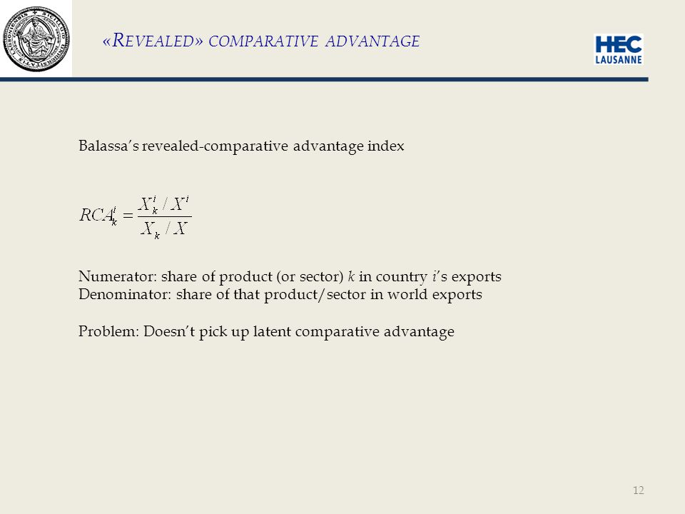 12 «R EVEALED » COMPARATIVE ADVANTAGE Balassa's revealed-comparative advantage index Numerator: share of product (or sector) k in country i 's exports Denominator: share of that product/sector in world exports Problem: Doesn't pick up latent comparative advantage