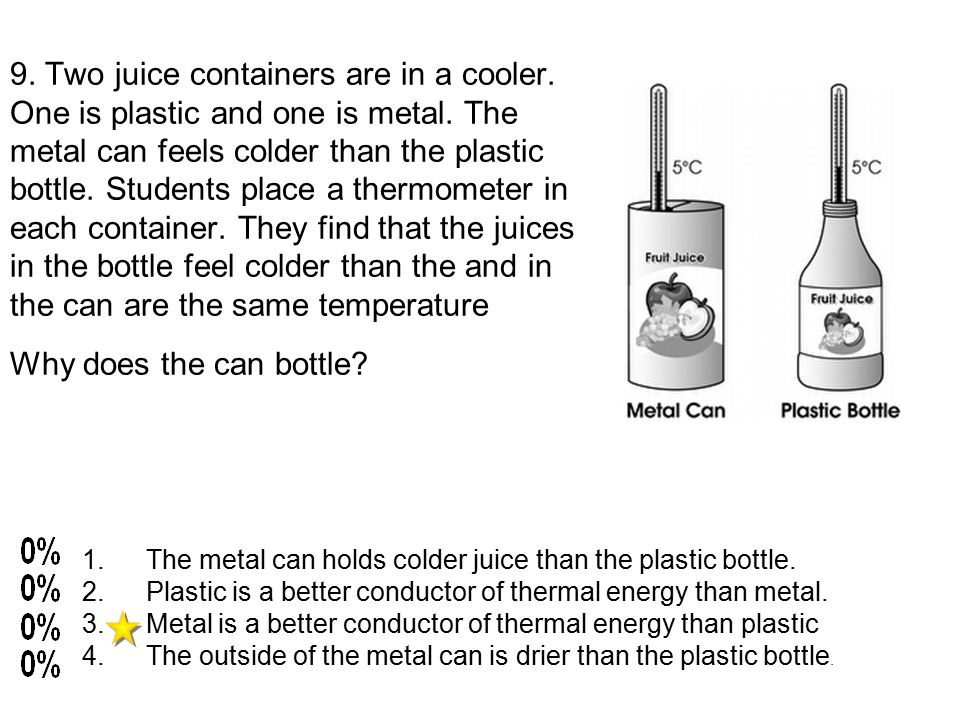 9. Two juice containers are in a cooler. One is plastic and one is metal.