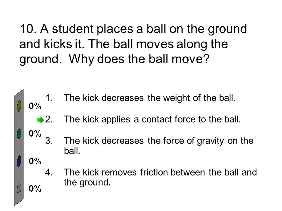 10. A student places a ball on the ground and kicks it.
