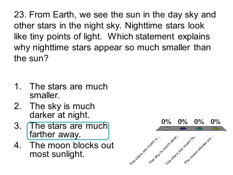 23. From Earth, we see the sun in the day sky and other stars in the night sky.