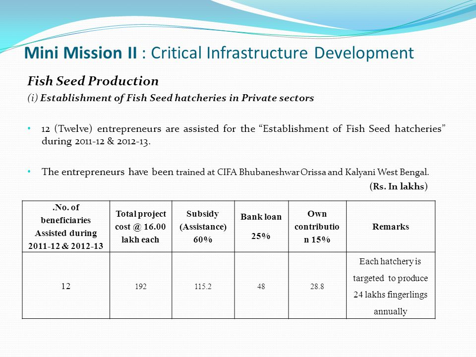 Mini Mission II : Critical Infrastructure Development Fish Seed Production (i) Establishment of Fish Seed hatcheries in Private sectors 12 (Twelve) entrepreneurs are assisted for the Establishment of Fish Seed hatcheries during 2011-12 & 2012-13.