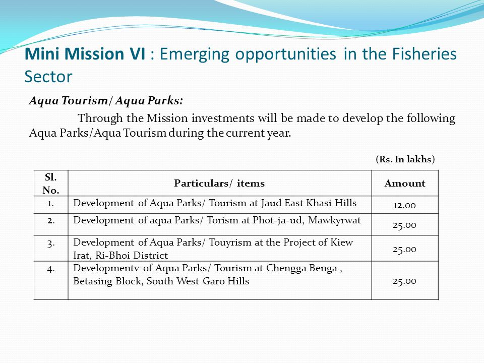 Mini Mission VI : Emerging opportunities in the Fisheries Sector Aqua Tourism/ Aqua Parks: Through the Mission investments will be made to develop the following Aqua Parks/Aqua Tourism during the current year.