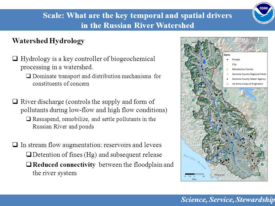 Scale: What are the key temporal and spatial drivers in the Russian River Watershed Watershed Hydrology  Hydrology is a key controller of biogeochemical processing in a watershed.