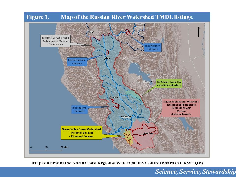 Figure 1. Map of the Russian River Watershed TMDL listings.