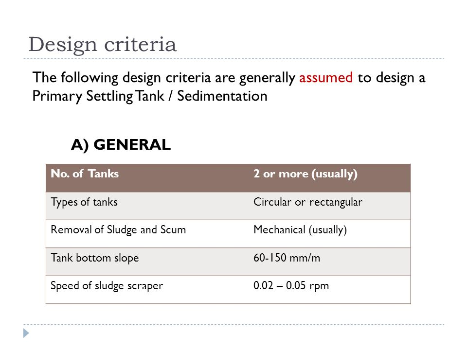 The following design criteria are generally assumed to design a Primary Settling Tank / Sedimentation A) GENERAL No. of Tanks2 or more (usually) Types