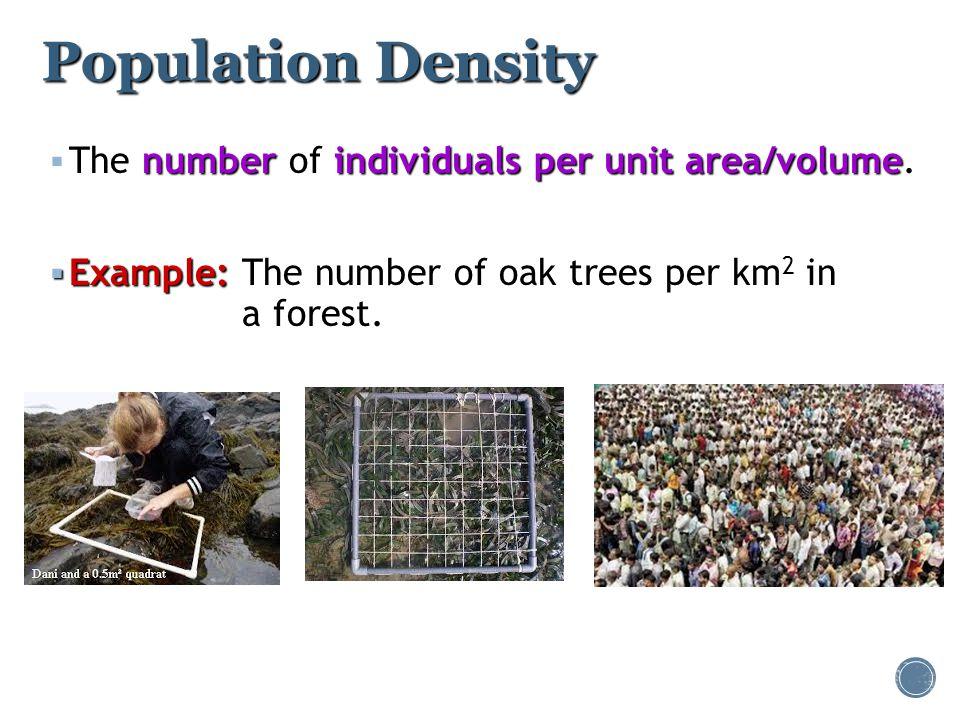 Population Density numberindividuals per unit area/volume  The number of individuals per unit area/volume.  Example:  Example:The number of oak tre