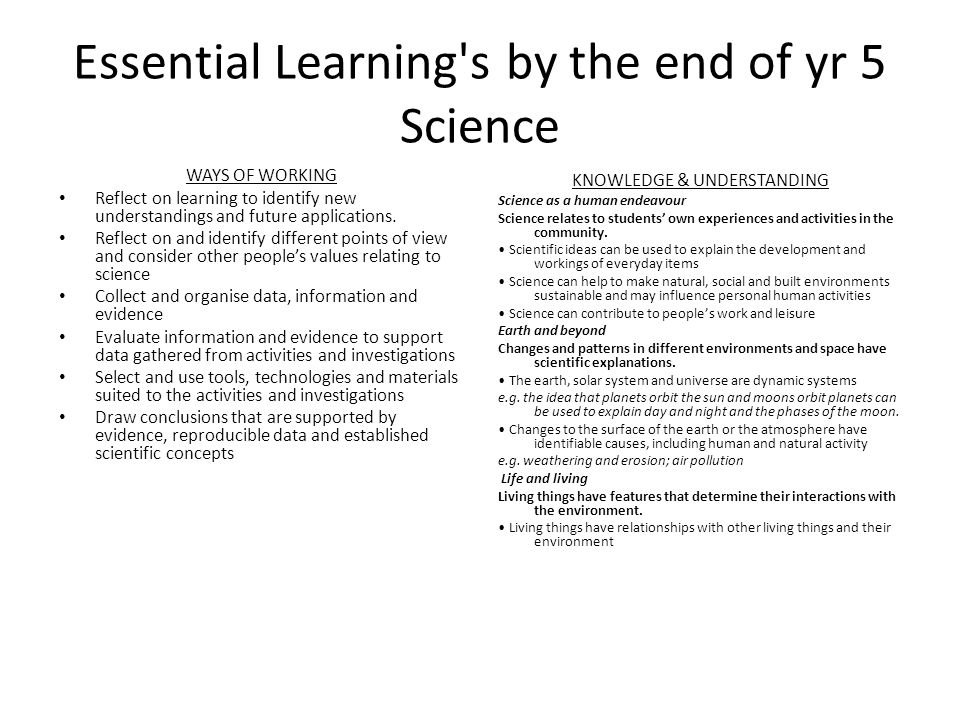 Essential Learning s by the end of yr 5 Science WAYS OF WORKING Reflect on learning to identify new understandings and future applications.