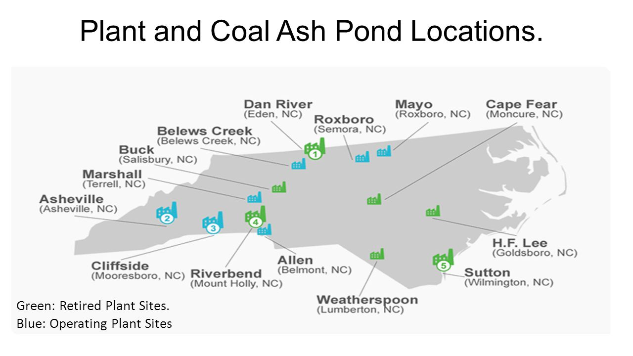 Plant and Coal Ash Pond Locations. Green: Retired Plant Sites. Blue: Operating Plant Sites