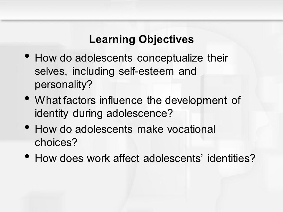 Learning Objectives How do adolescents conceptualize their selves, including self-esteem and personality? What factors influence the development of id
