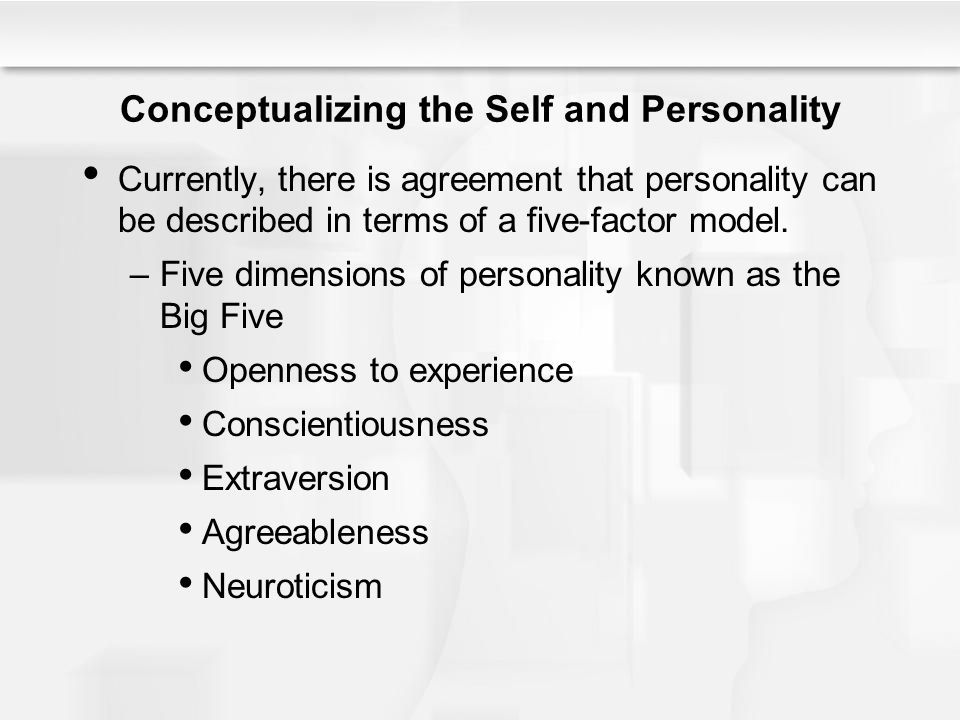 Conceptualizing the Self and Personality Currently, there is agreement that personality can be described in terms of a five-factor model. –Five dimens
