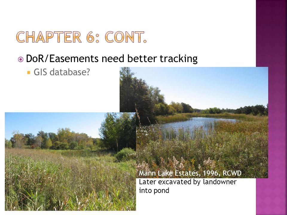  DoR/Easements need better tracking  GIS database.