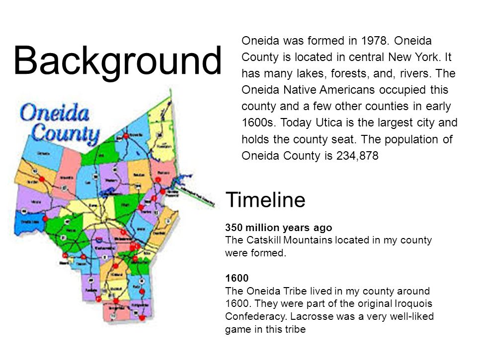 Background Oneida was formed in 1978. Oneida County is located in central New York.