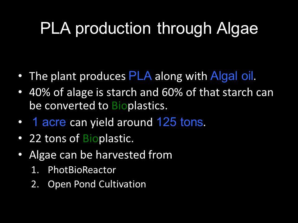 PLA production through Algae The plant produces PLA along with Algal oil.