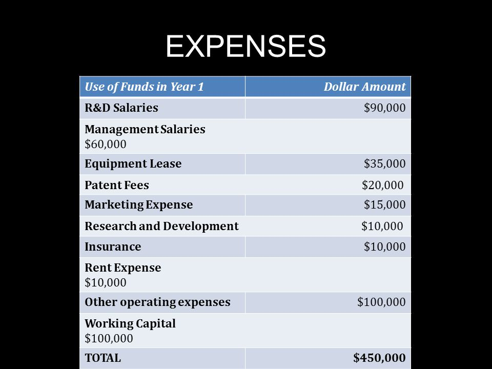 EXPENSES Use of Funds in Year 1Dollar Amount R&D Salaries$90,000 Management Salaries $60,000 Equipment Lease$35,000 Patent Fees $20,000 Marketing Expe