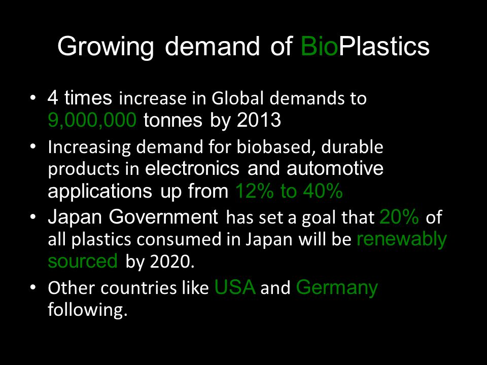 Growing demand of BioPlastics 4 times increase in Global demands to 9,000,000 tonnes by 2013 Increasing demand for biobased, durable products in electronics and automotive applications up from 12% to 40% Japan Government has set a goal that 20% of all plastics consumed in Japan will be renewably sourced by 2020.