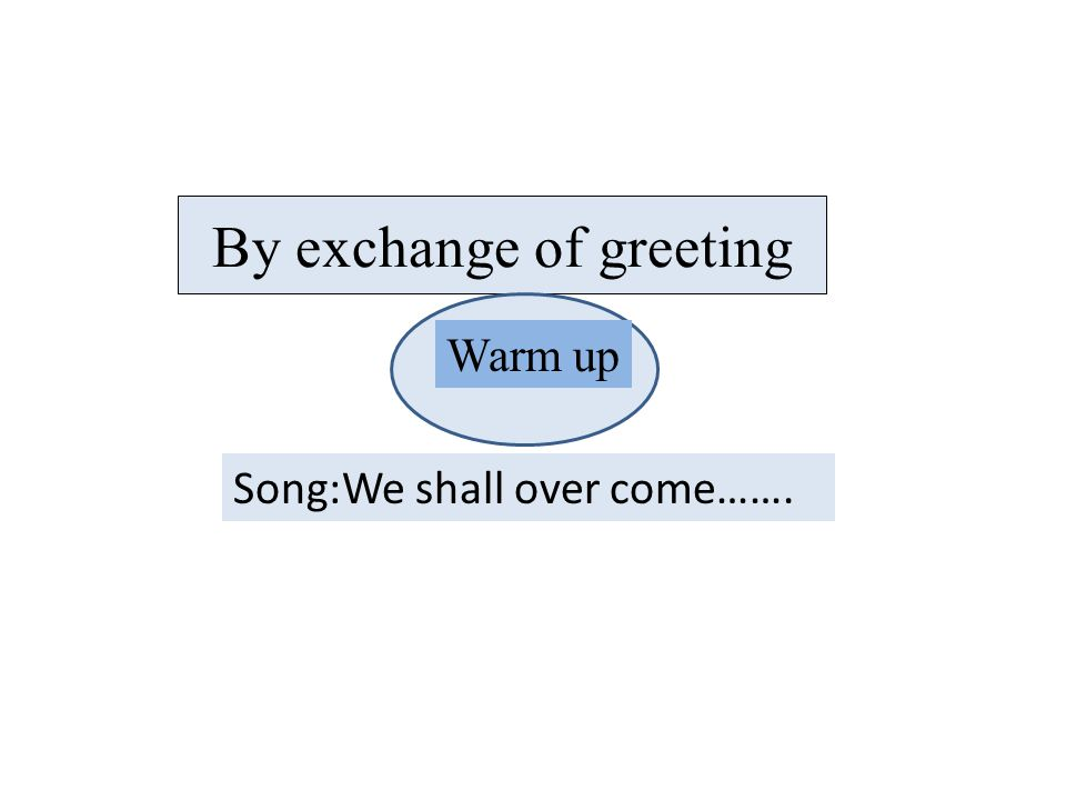 By exchange of greeting Warm up Song:We shall over come…….