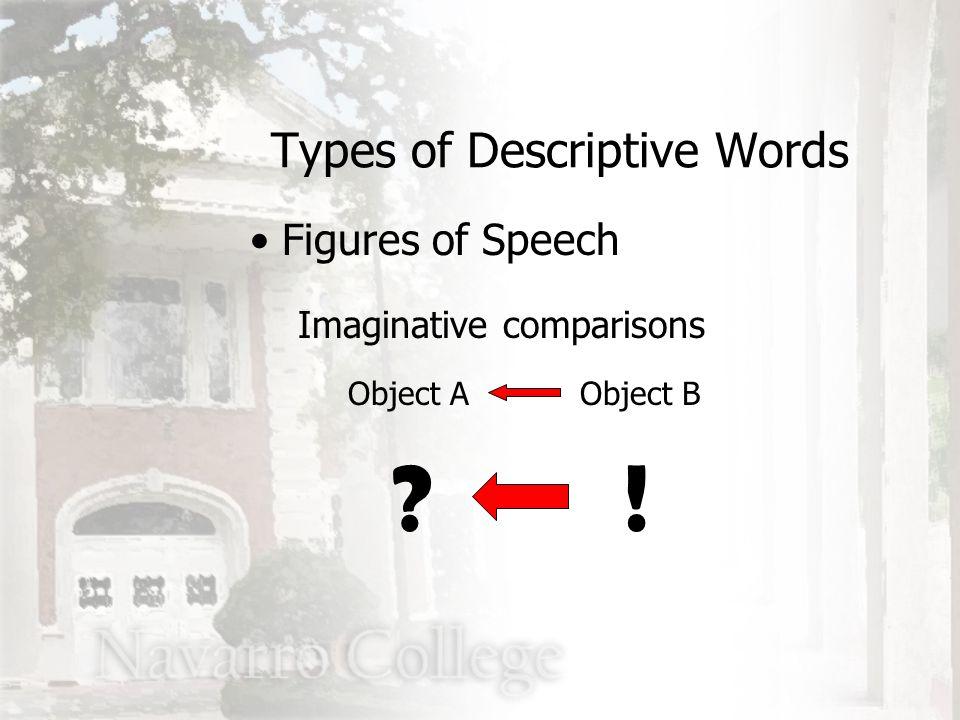 Imaginative comparisons Object A Types of Descriptive Words Figures of Speech Object B !