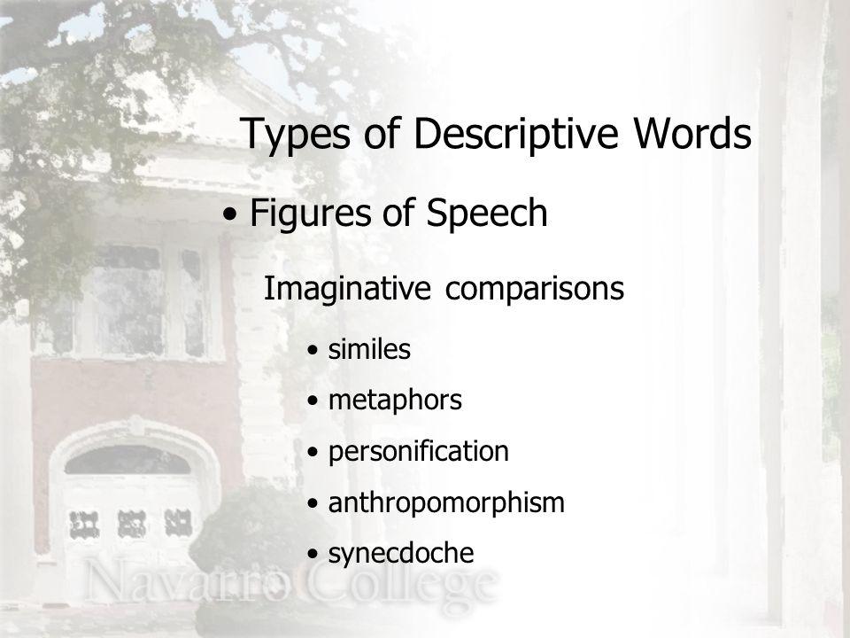 Imaginative comparisons similes metaphors personification anthropomorphism synecdoche Types of Descriptive Words Figures of Speech